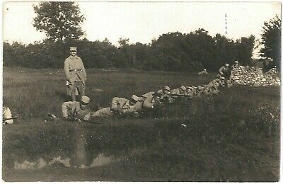 WW1 FRENCH SOLDIERS Training RIFLES Officer Patriotic Real Photo PC 1917