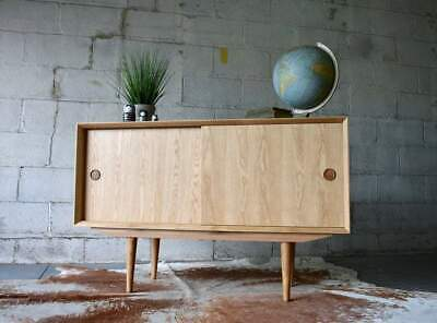 Apartment Sized Mid Century Modern Oak Credenza / Media Stand