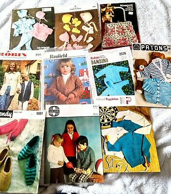 9 x Vintage Knitting Patterns  and 1 Crochet Pattern from 1970's to 1980's