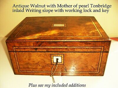 Antique Walnut wood, Mother of Pearl & Tonbridge inlaid writing slope ink well +