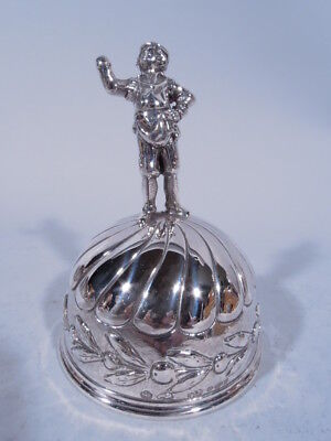 Antique Bell - Figural Finial  English Import   German Sterling Silver