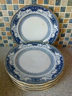 Booths Silicon China England 9 X Small Dinner Plates Blue/White Butterfly Border
