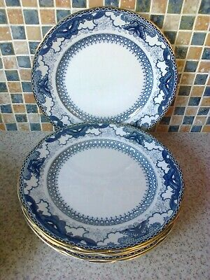 Booths Silicon China England 6 X Dinner Plates Blue/White Butterfly Border Good