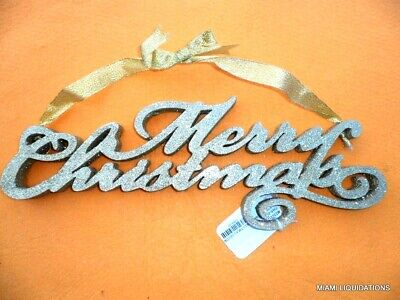 MERRY CHRISTMAS Holiday Sign TWO/'s COMPANY Pearl White Door Glitter Decoration