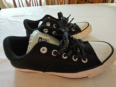 CONVERSE Chuck Taylor All Star womens girls sz 6 BLACK silver sneakers shoes