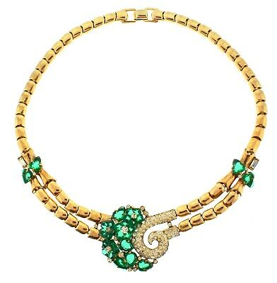 1949 Deco Philippe TRIFARI Emerald Green Fruit Salad Glass Rhinestone NECKLACE
