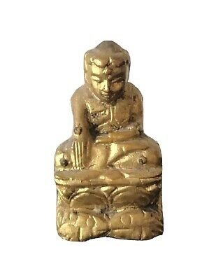 Antique Small Burmese Gilded Wooden Buddha Statuette