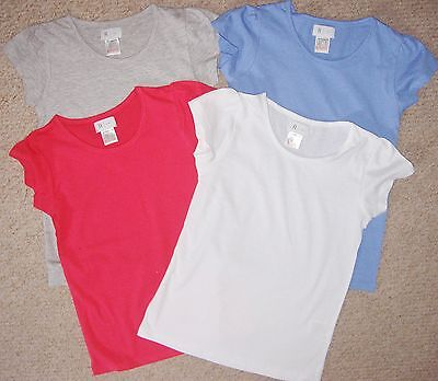 Girls cotton plain scoop neck t-shirt in pink blue white and grey age 6 to 12 yr