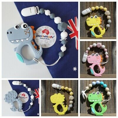 Lovely lDinosaur Baby Teething Toy on Dummy Clip Soother Teether Pacifier Clips