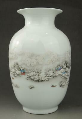 Chinese old porcelain white glaze snow-covered landscape fine Wax gourd vase c01