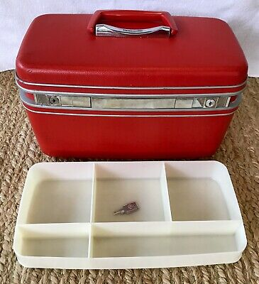 Vintage SAMSONITE SILHOUETTE TRAIN CASE Travel Luggage Key, Tray & Mirror Red