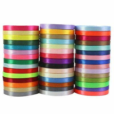 1Roll 10mm 15mm 25mm 40mm 50mm Double Sided Faced Satin Ribbon Gift Packaging