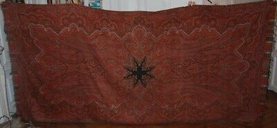 """REDUCED HUGE ANTIQUE PAISLEY SHAWL CLOTH c1850 ~ LYON FRANCE TAPESTRY 126"""" x 60"""""""