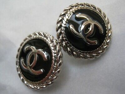 CHANEL BUTTONS lot of 2 BLACK 18 mm over 3/4 inch metal with silver cc logo