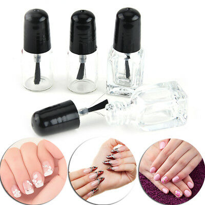 2ml/3ml Empty Nail Polish Clear Glass Bottle Storage Container with Black Cap ax