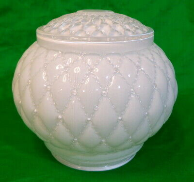 Vintage Fancy Milk Glass Ceiling Shade Tufted & Beaded Design 3-1/8 In. Fitter