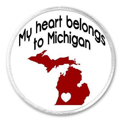 "Iron On Patch Michigan Born Raised Pride Gift Present Made In Detroit 3/"" Sew"