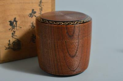T3846: Japan Wooden Lacquer ware TEA CADDY Natsume Chaire Container w/signed box
