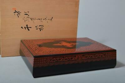 T3385: Japanese Wooden Lacquer ware Sanuki carving LETTER BOX w/signed box