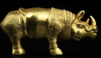 China old antique hand made brass rhinoceros statue d01