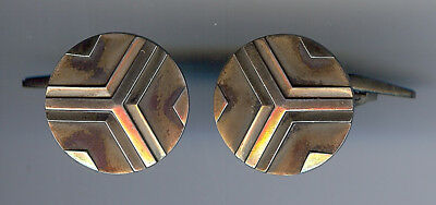 Georg Jensen Danemark Vintage Moderniste Optique Argent Sterling Boutons