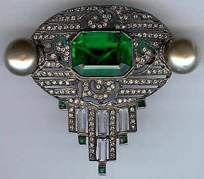 French Antique Art Deco Sterling Silver Green Faceted Glass Rhinestone Pin