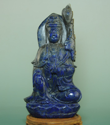 china old lapis lazuli hand-made sculpture Avalokitesvara jade statue Bg01B