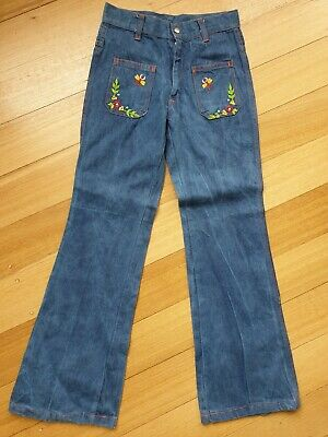 VINTAGE 1970s ~ Jo Togs Denim Embroidered Bell Bottom Flares Jeans 6 to 8 xs