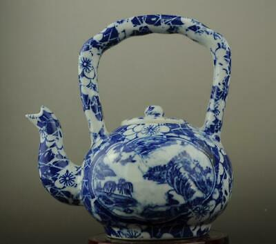 China old hand-made Blue and White porcelain Hand painted landscape teapot c01