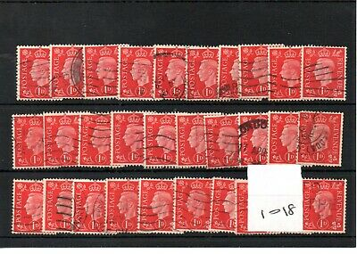 GB  - GEORGE V1 -(1018) 1937- Definitives -  1d - 30 copies - commercially used