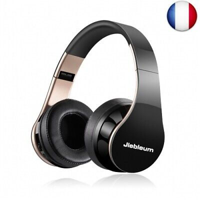 Casque Bluetooth, Jiebleum Casque Audio Pliable Bluetooth avec Microphone (or)