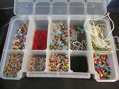 Bead Storage Container With Assortment Of Beads, colorful lot Crafts necklaces