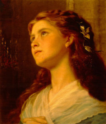 ENOPT425 long hair lady portrait gaze art hand-painted oil painting on canvas