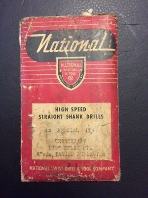 """Vintage National 1/8 X 4"""" high speed drill bits / original packaging - 16 bits!"""