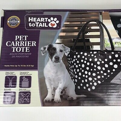 Heart To Tail Pet Carrier Tote Bag Holds Pets Up To 15 Lbs Black White Polka dot