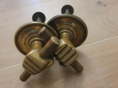 2 Antique solid brass safe door handle fist holding hand, reclaimed achitectural