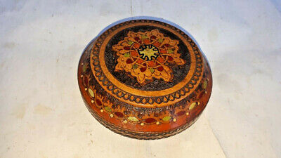 Antique Vintage Wooden Bowl Box Salt Spices hand decorated early 20th