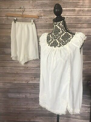 Vintage 50s Ivory Nightgown 2 Piece Shirt and Short Set Romantic Movie Star Med