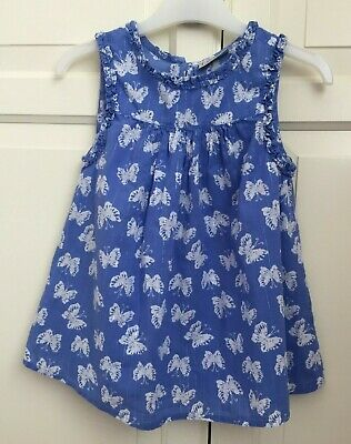 Next Girls Lovely White and Blue Butterfly Top size 5 Years