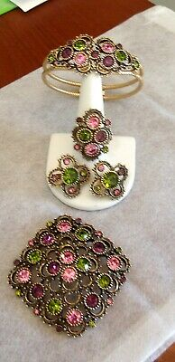 Vtg Sarah Coventry Austrian Lites 1973 Set Pin, Bracelet, C Earrings & Ring