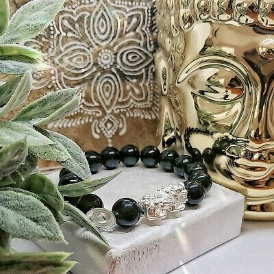 Black Agate stone with silver-plated Pixiu and Chinese old currency charms