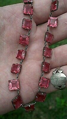 Antique Victorian Sterling Silver French Paste Pink Beautiful Choker Necklace