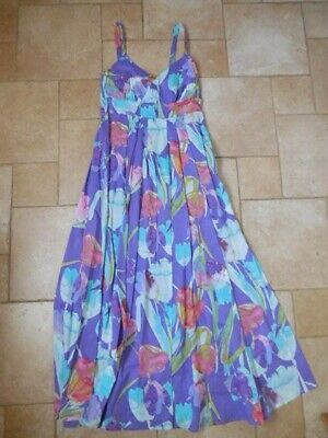 Women's M&S Purple Floral Maxi Dress UK 10