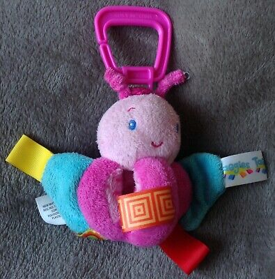 """Taggies Butterfly Crinkle Clip On Soft Toy - 7"""" Baby Pram Cot Buggy Toy Scensory"""