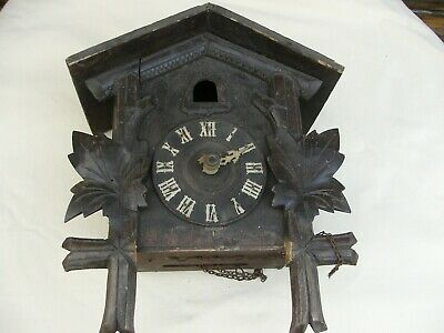 A nice old antique cuckoo clock for spares / repair brass harp shape movement