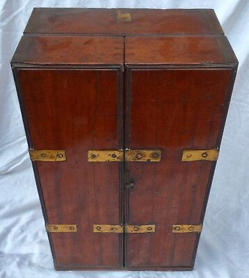 RARE Antique GEORGIAN Mahogany Brass Bounded Campaign Apothecary Cabinet Chest