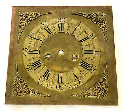 Antique Brass Dial For Longcase Grandfather Clock John Roberts 13.5'' X 13.5 ''
