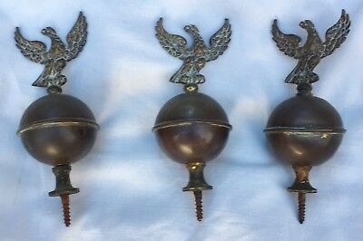 Large Old Brass Set of Three Eagle Finials For Long Case Grandfather Clock