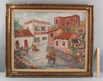 Authentic DAVID PALLOCK Impressionist Oil Painting, European Town Donkey & Cart