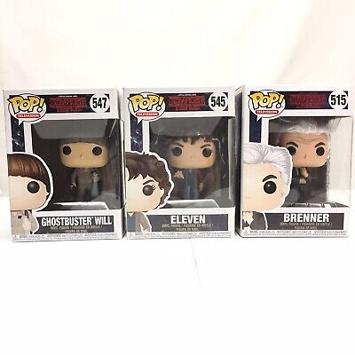 3 Funko POP STRANGER THINGS Eleven 545 Ghostbuster Will 547 Brenner 515 Lot of 3